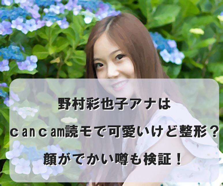 野村彩也子アナはcancam読モで可愛いけど整形?顔がでかい噂も検証!