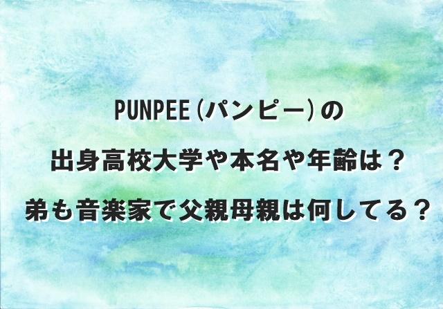 PUNPEE(パンピー)の出身高校大学や本名や年齢は?弟も音楽家で父親母親は何してる?