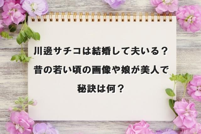 川邊サチコは結婚して夫いる?昔の若い頃の画像や娘が美人で秘訣は何?