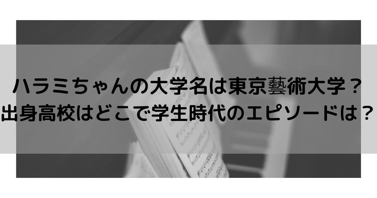 ハラミちゃんの大学名は東京藝術大学?出身高校はどこで学生時代のエピソードは?