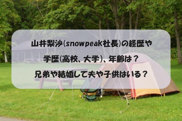 山井梨沙(snowpeak社長)の経歴や学歴(高校、大学)、年齢は?兄弟や結婚して夫や子供はいる?