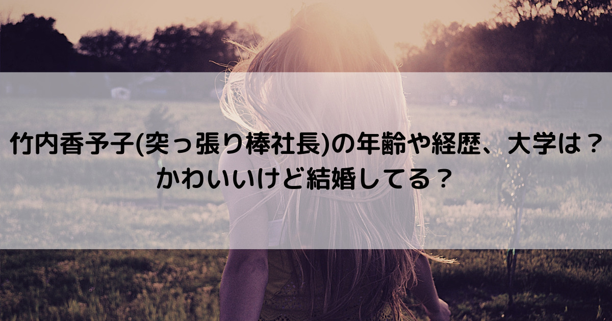 竹内香予子(突っ張り棒社長)の年齢や経歴、大学は?かわいいけど結婚してる?