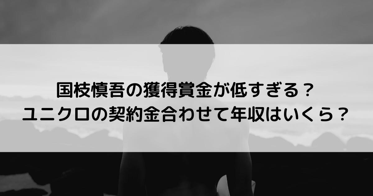国枝慎吾の獲得賞金が低すぎる?ユニクロの契約金合わせて年収はいくら?
