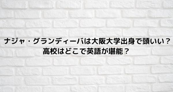 ナジャ・グランディーバは大阪大学出身